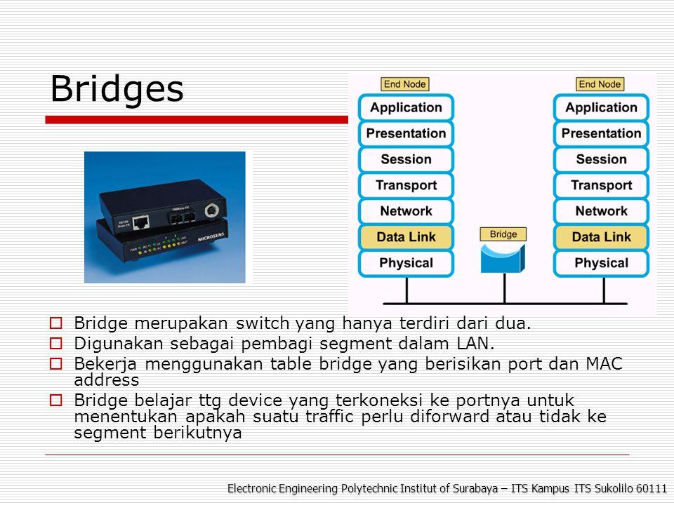 Electronic Engineering Polytechnic Institut of Surabaya – ITS Kampus ITS Sukolilo 60111 Bridges  Bridge merupakan switch yang hanya terdiri dari dua.