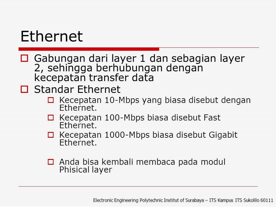 Electronic Engineering Polytechnic Institut of Surabaya – ITS Kampus ITS Sukolilo 60111 Ethernet  Gabungan dari layer 1 dan sebagian layer 2, sehingga berhubungan dengan kecepatan transfer data  Standar Ethernet  Kecepatan 10-Mbps yang biasa disebut dengan Ethernet.