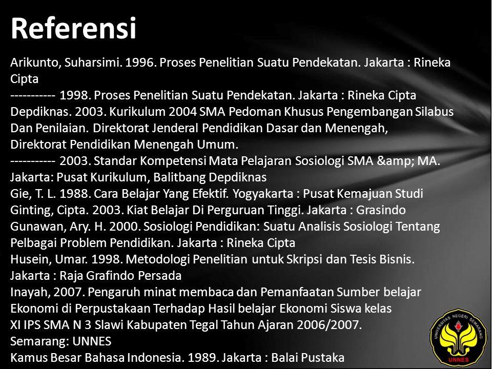 Referensi Arikunto, Suharsimi. 1996. Proses Penelitian Suatu Pendekatan.