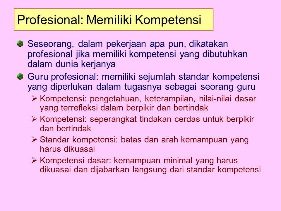 Profesional: Memiliki Kompetensi Seseorang, dalam pekerjaan apa pun, dikatakan profesional jika memiliki kompetensi yang dibutuhkan dalam dunia kerjan
