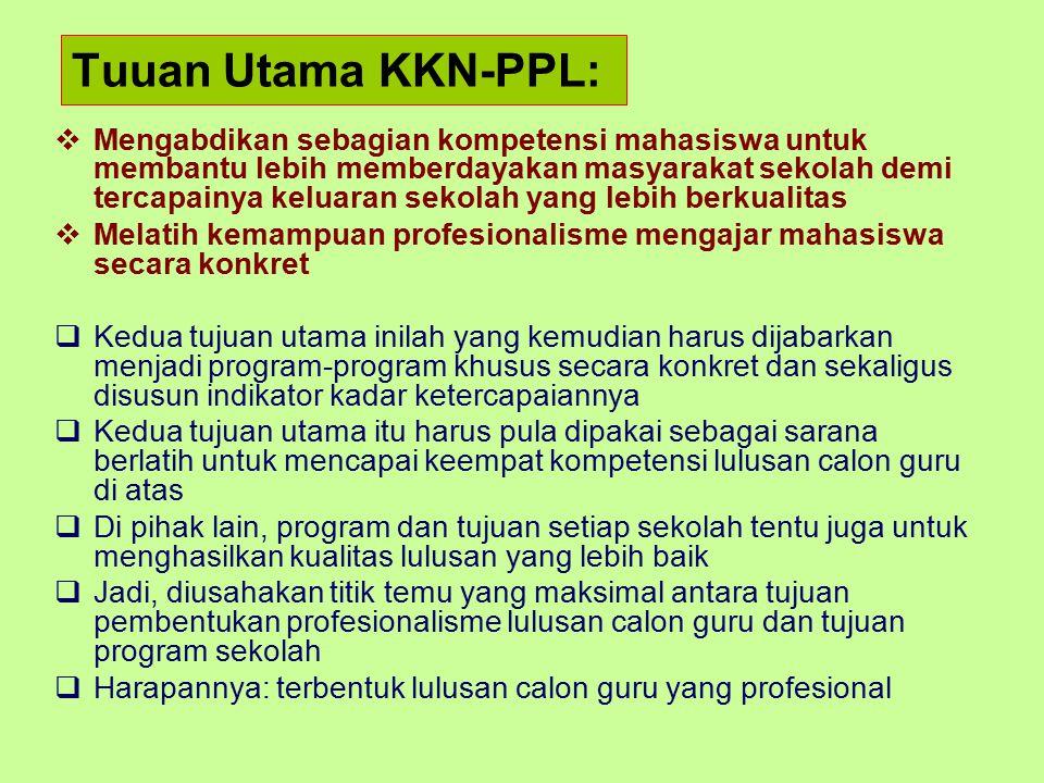 Tuuan Utama KKN-PPL:  Mengabdikan sebagian kompetensi mahasiswa untuk membantu lebih memberdayakan masyarakat sekolah demi tercapainya keluaran sekol