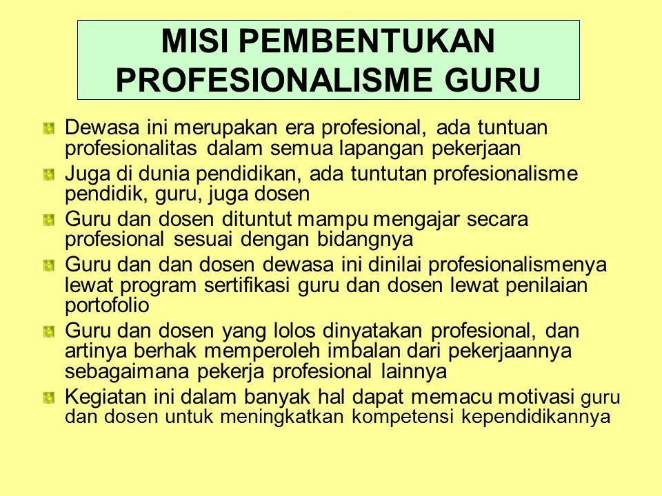 MISI PEMBENTUKAN PROFESIONALISME GURU Dewasa ini merupakan era profesional, ada tuntuan profesionalitas dalam semua lapangan pekerjaan Juga di dunia p
