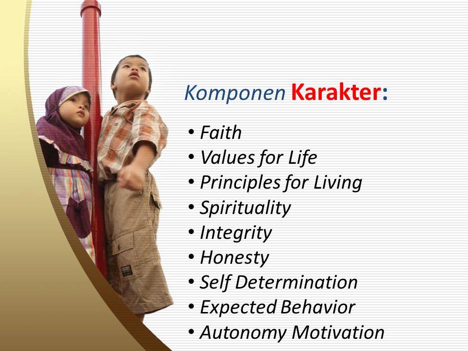 Komponen Karakter: Faith Values for Life Principles for Living Spirituality Integrity Honesty Self Determination Expected Behavior Autonomy Motivation