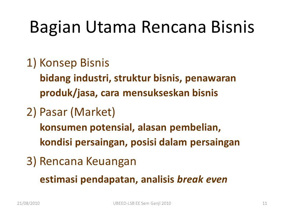 Bagian Utama Rencana Bisnis bidang industri, struktur bisnis, penawaran produk/jasa, cara mensukseskan bisnis 1) Konsep Bisnis konsumen potensial, ala