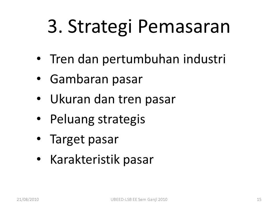 3. Strategi Pemasaran Tren dan pertumbuhan industri Gambaran pasar Ukuran dan tren pasar Peluang strategis Target pasar Karakteristik pasar 21/08/2010