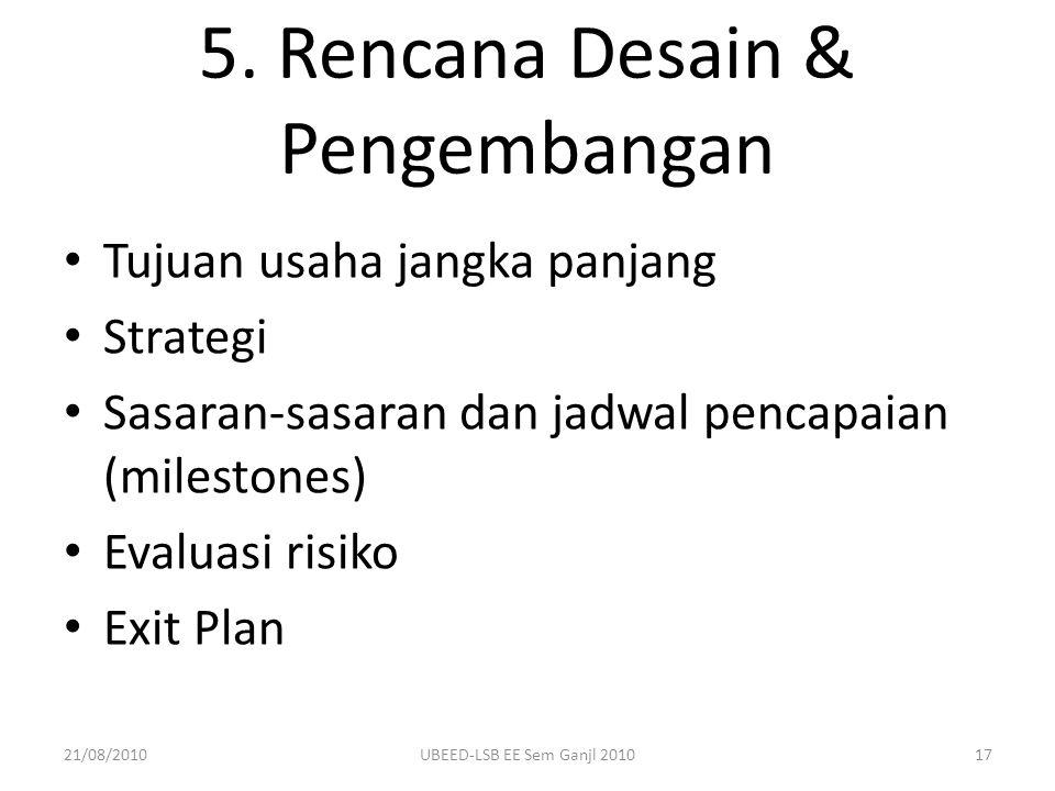5. Rencana Desain & Pengembangan Tujuan usaha jangka panjang Strategi Sasaran-sasaran dan jadwal pencapaian (milestones) Evaluasi risiko Exit Plan 21/