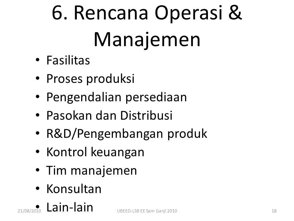 6. Rencana Operasi & Manajemen Fasilitas Proses produksi Pengendalian persediaan Pasokan dan Distribusi R&D/Pengembangan produk Kontrol keuangan Tim m