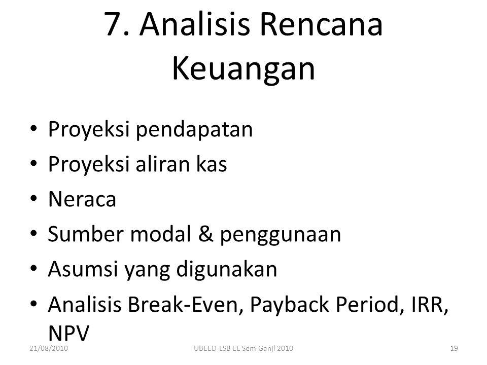 7. Analisis Rencana Keuangan Proyeksi pendapatan Proyeksi aliran kas Neraca Sumber modal & penggunaan Asumsi yang digunakan Analisis Break-Even, Payba