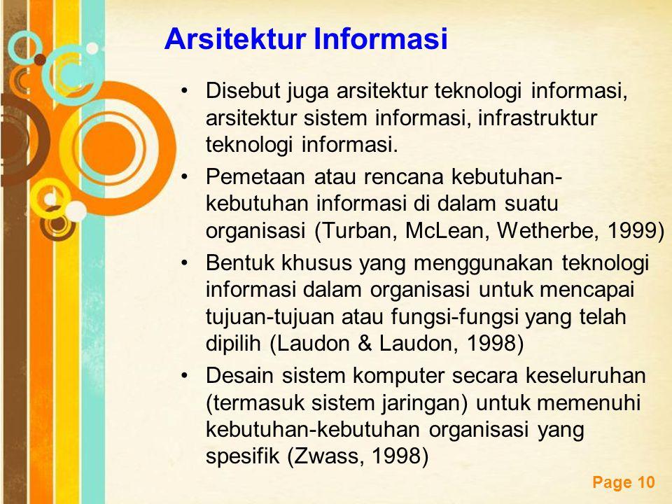 Free Powerpoint Templates Page 10 Arsitektur Informasi Disebut juga arsitektur teknologi informasi, arsitektur sistem informasi, infrastruktur teknolo
