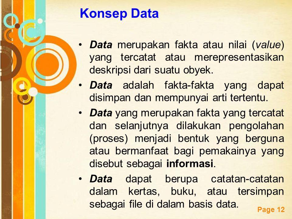 Free Powerpoint Templates Page 12 Konsep Data Data merupakan fakta atau nilai (value) yang tercatat atau merepresentasikan deskripsi dari suatu obyek.
