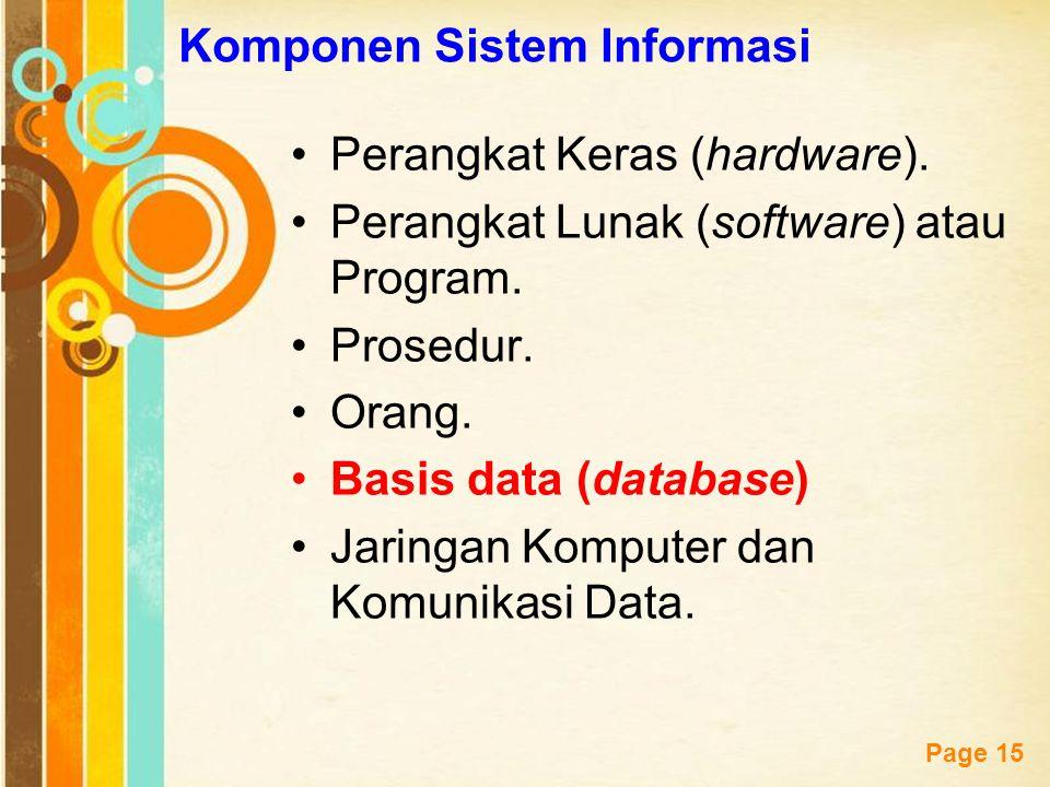 Free Powerpoint Templates Page 15 Komponen Sistem Informasi Perangkat Keras (hardware). Perangkat Lunak (software) atau Program. Prosedur. Orang. Basi