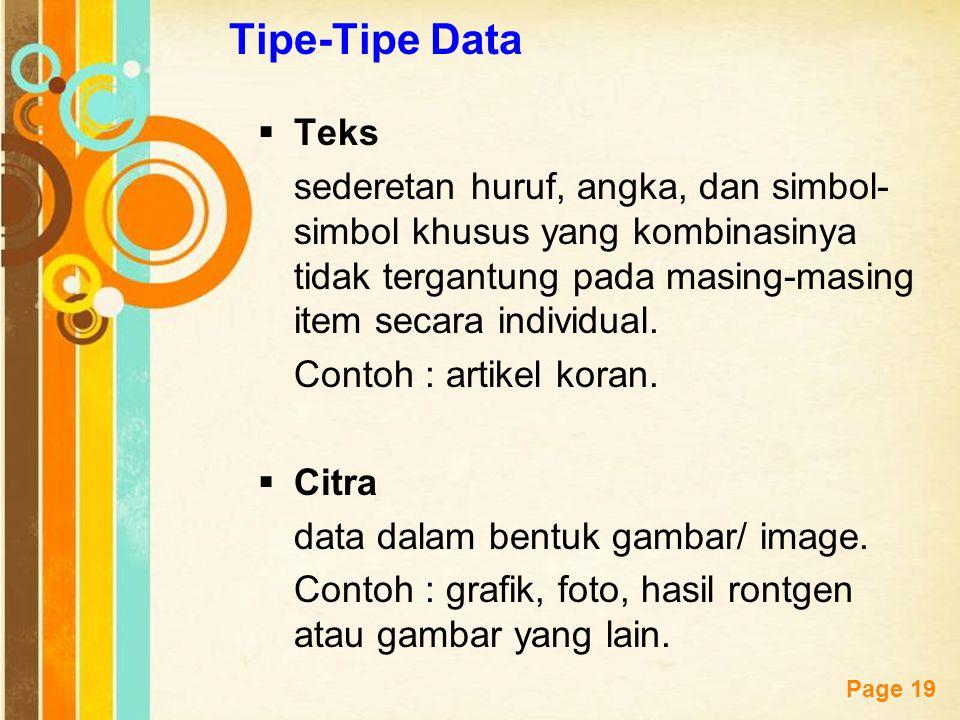 Free Powerpoint Templates Page 19 Tipe-Tipe Data  Teks sederetan huruf, angka, dan simbol- simbol khusus yang kombinasinya tidak tergantung pada masi