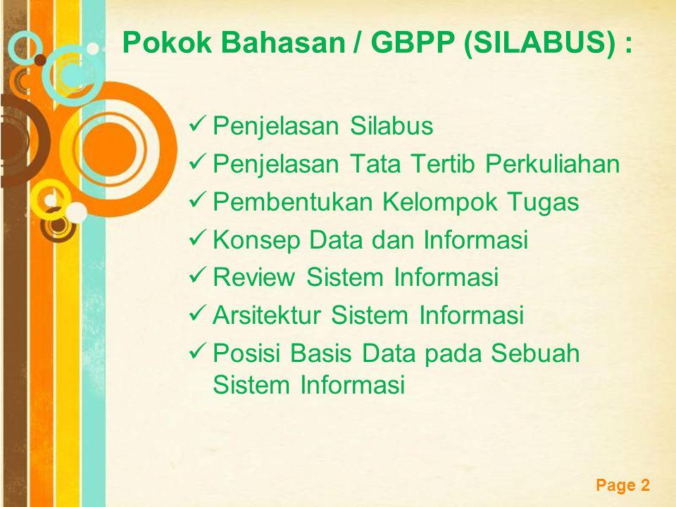 Free Powerpoint Templates Page 2 Pokok Bahasan / GBPP (SILABUS) : Penjelasan Silabus Penjelasan Tata Tertib Perkuliahan Pembentukan Kelompok Tugas Kon