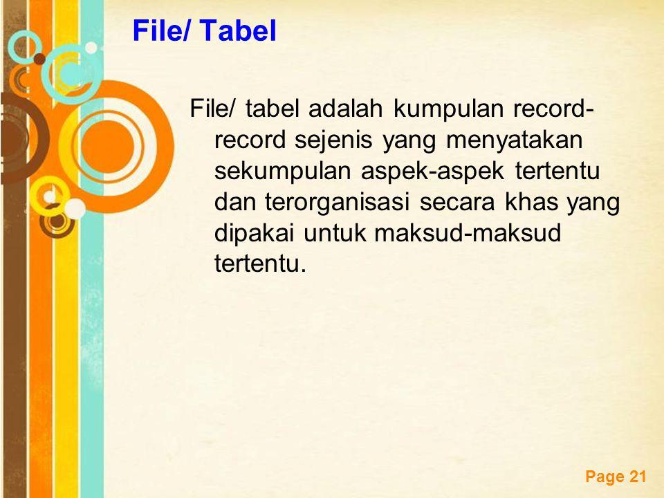 Free Powerpoint Templates Page 21 File/ Tabel File/ tabel adalah kumpulan record- record sejenis yang menyatakan sekumpulan aspek-aspek tertentu dan t