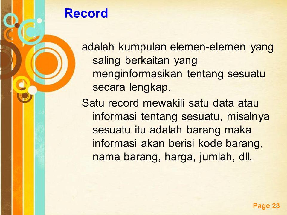 Free Powerpoint Templates Page 23 Record adalah kumpulan elemen-elemen yang saling berkaitan yang menginformasikan tentang sesuatu secara lengkap. Sat
