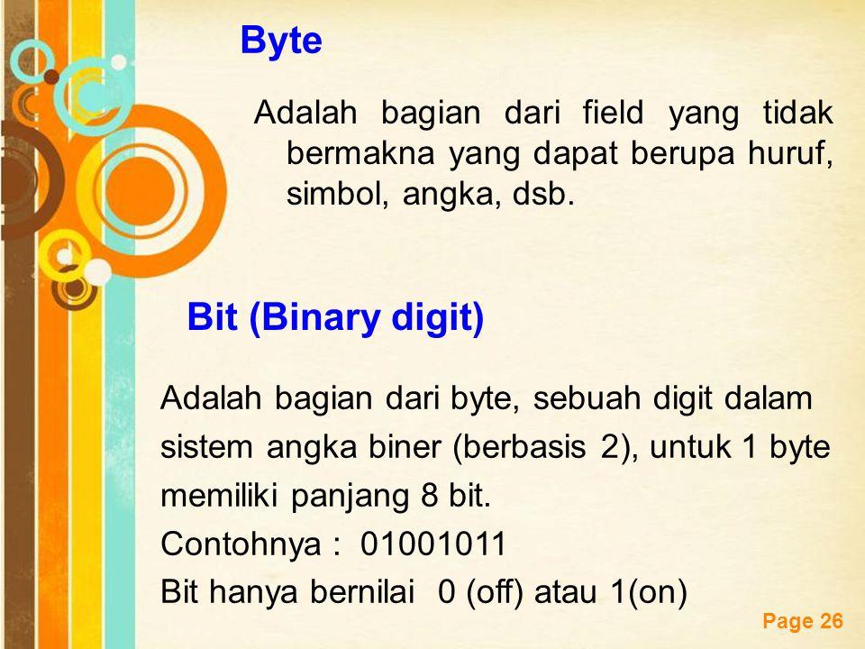 Free Powerpoint Templates Page 26 Byte Adalah bagian dari field yang tidak bermakna yang dapat berupa huruf, simbol, angka, dsb. Bit (Binary digit) Ad