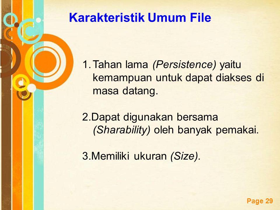 Free Powerpoint Templates Page 29 Karakteristik Umum File 1.Tahan lama (Persistence) yaitu kemampuan untuk dapat diakses di masa datang. 2.Dapat digun