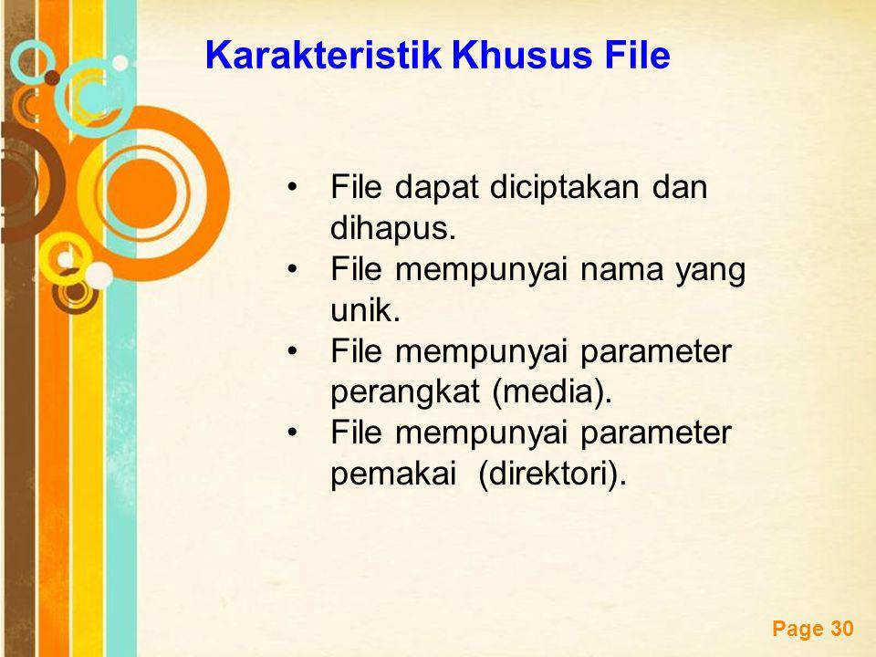Free Powerpoint Templates Page 30 Karakteristik Khusus File File dapat diciptakan dan dihapus. File mempunyai nama yang unik. File mempunyai parameter