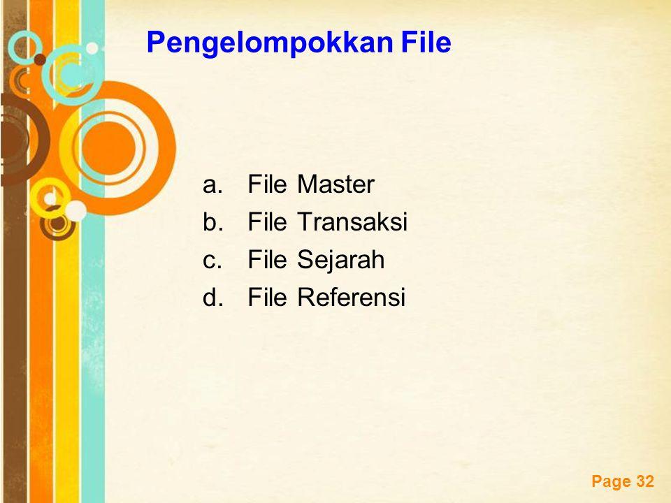 Free Powerpoint Templates Page 32 Pengelompokkan File a.File Master b.File Transaksi c.File Sejarah d.File Referensi