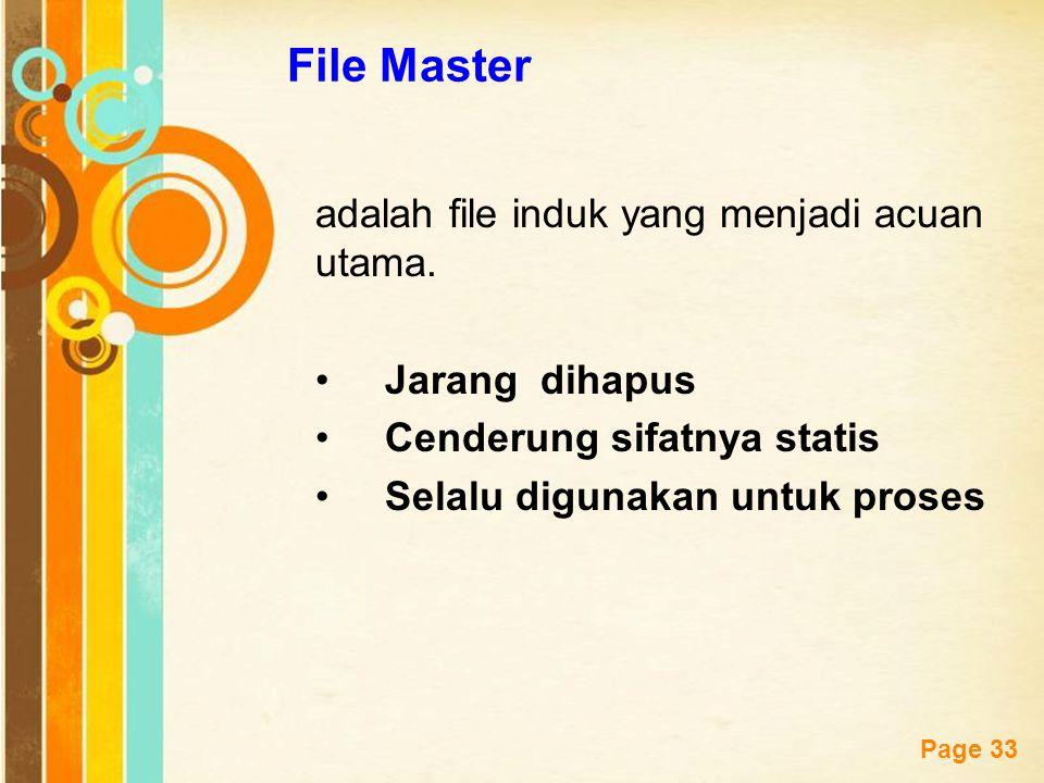 Free Powerpoint Templates Page 33 File Master adalah file induk yang menjadi acuan utama. Jarang dihapus Cenderung sifatnya statis Selalu digunakan un