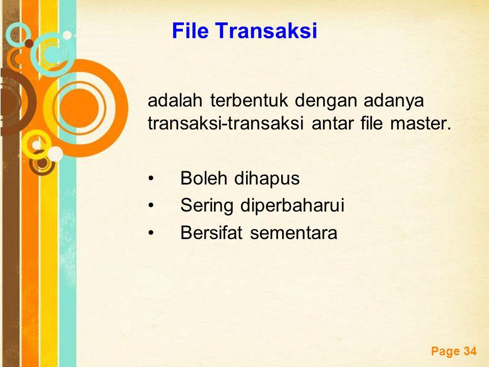Free Powerpoint Templates Page 34 File Transaksi adalah terbentuk dengan adanya transaksi-transaksi antar file master. Boleh dihapus Sering diperbahar