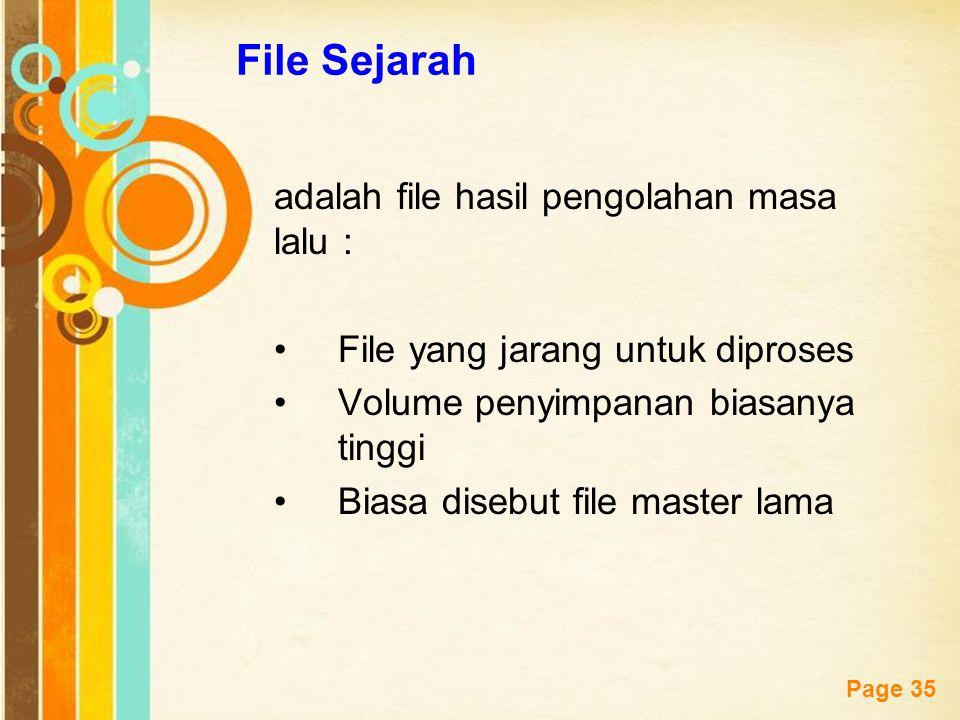 Free Powerpoint Templates Page 35 File Sejarah adalah file hasil pengolahan masa lalu : File yang jarang untuk diproses Volume penyimpanan biasanya ti