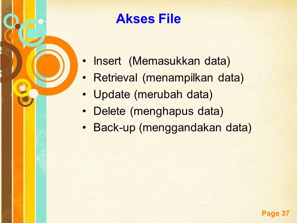 Free Powerpoint Templates Page 37 Akses File Insert (Memasukkan data) Retrieval (menampilkan data) Update (merubah data) Delete (menghapus data) Back-