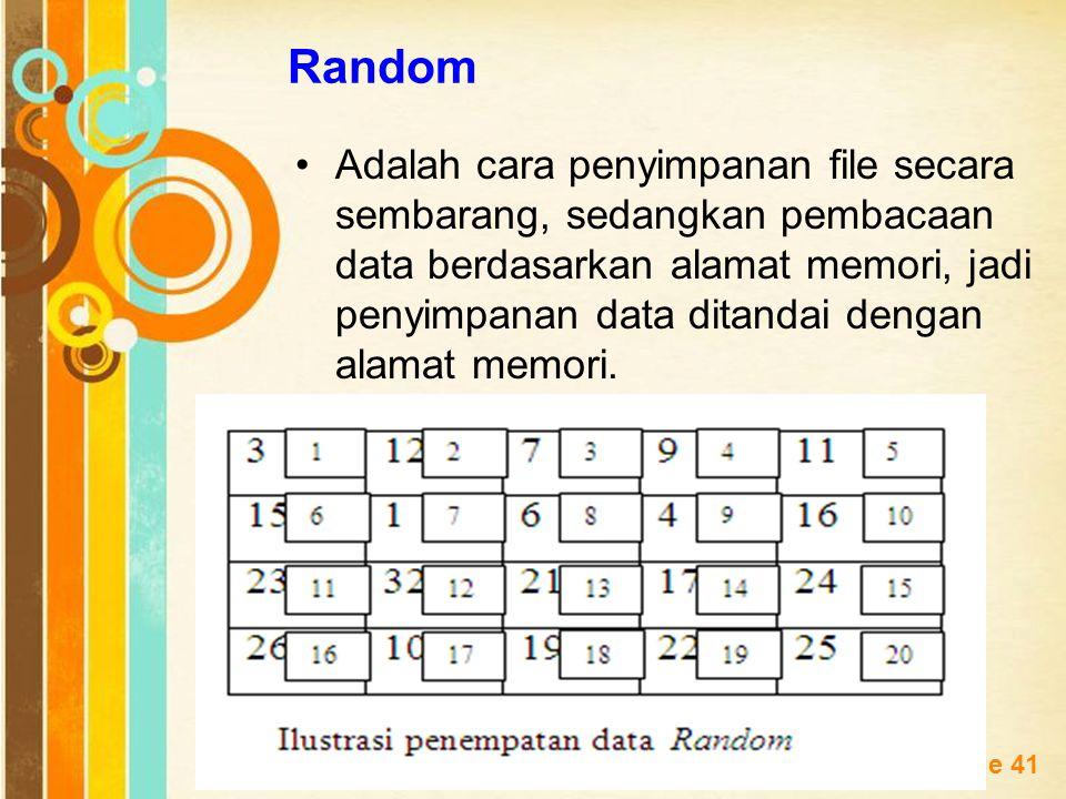Free Powerpoint Templates Page 41 Random Adalah cara penyimpanan file secara sembarang, sedangkan pembacaan data berdasarkan alamat memori, jadi penyi