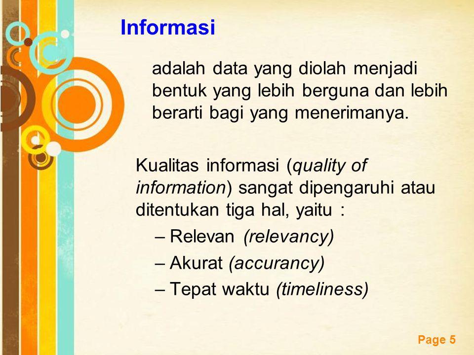 Free Powerpoint Templates Page 5 Informasi adalah data yang diolah menjadi bentuk yang lebih berguna dan lebih berarti bagi yang menerimanya. Kualitas