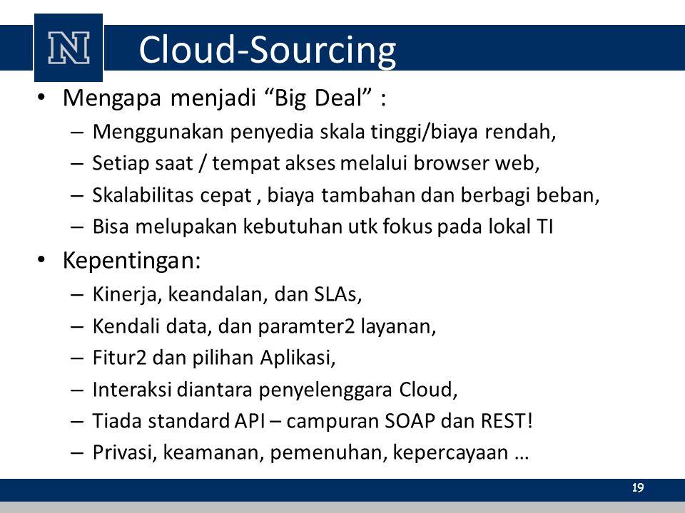 """Cloud-Sourcing Mengapa menjadi """"Big Deal"""" : – Menggunakan penyedia skala tinggi/biaya rendah, – Setiap saat / tempat akses melalui browser web, – Skal"""