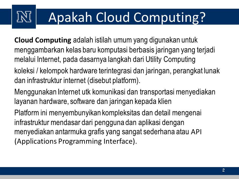 Apakah Cloud Computing? Cloud Computing adalah istilah umum yang digunakan untuk menggambarkan kelas baru komputasi berbasis jaringan yang terjadi mel