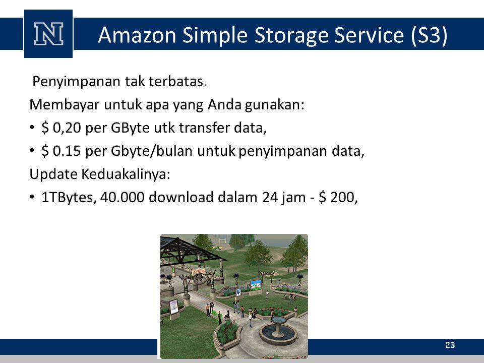 Amazon Simple Storage Service (S3) Penyimpanan tak terbatas. Membayar untuk apa yang Anda gunakan: $ 0,20 per GByte utk transfer data, $ 0.15 per Gbyt