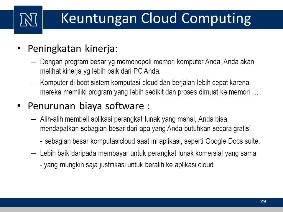 Keuntungan Cloud Computing Peningkatan kinerja: – Dengan program besar yg memonopoli memori komputer Anda, Anda akan melihat kinerja yg lebih baik dar