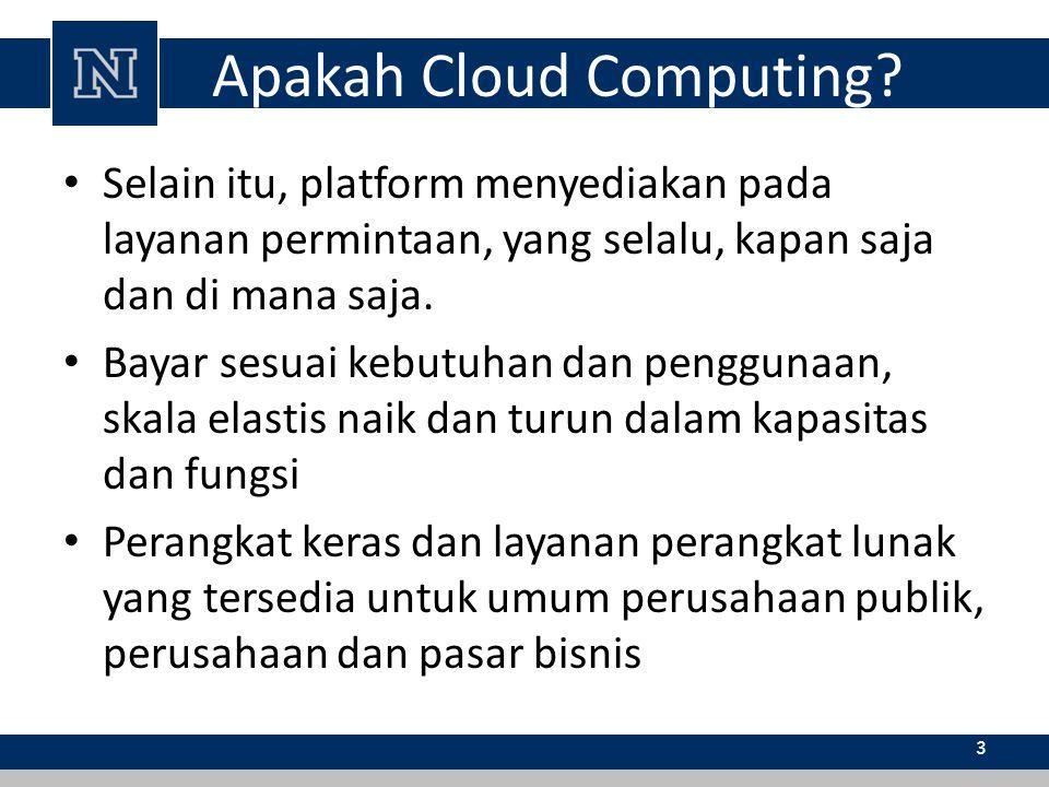 Apakah Cloud Computing? Selain itu, platform menyediakan pada layanan permintaan, yang selalu, kapan saja dan di mana saja. Bayar sesuai kebutuhan dan