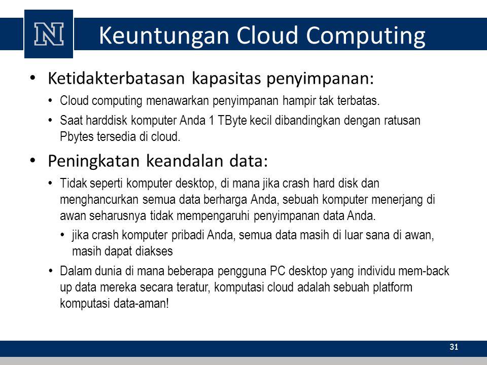 Keuntungan Cloud Computing Ketidakterbatasan kapasitas penyimpanan: Cloud computing menawarkan penyimpanan hampir tak terbatas. Saat harddisk komputer