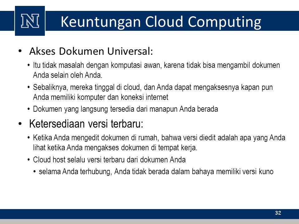 Keuntungan Cloud Computing Akses Dokumen Universal: Itu tidak masalah dengan komputasi awan, karena tidak bisa mengambil dokumen Anda selain oleh Anda