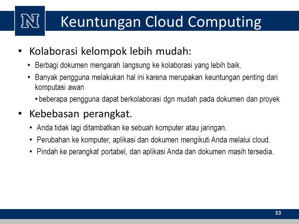 Keuntungan Cloud Computing Kolaborasi kelompok lebih mudah: Berbagi dokumen mengarah langsung ke kolaborasi yang lebih baik. Banyak pengguna melakukan
