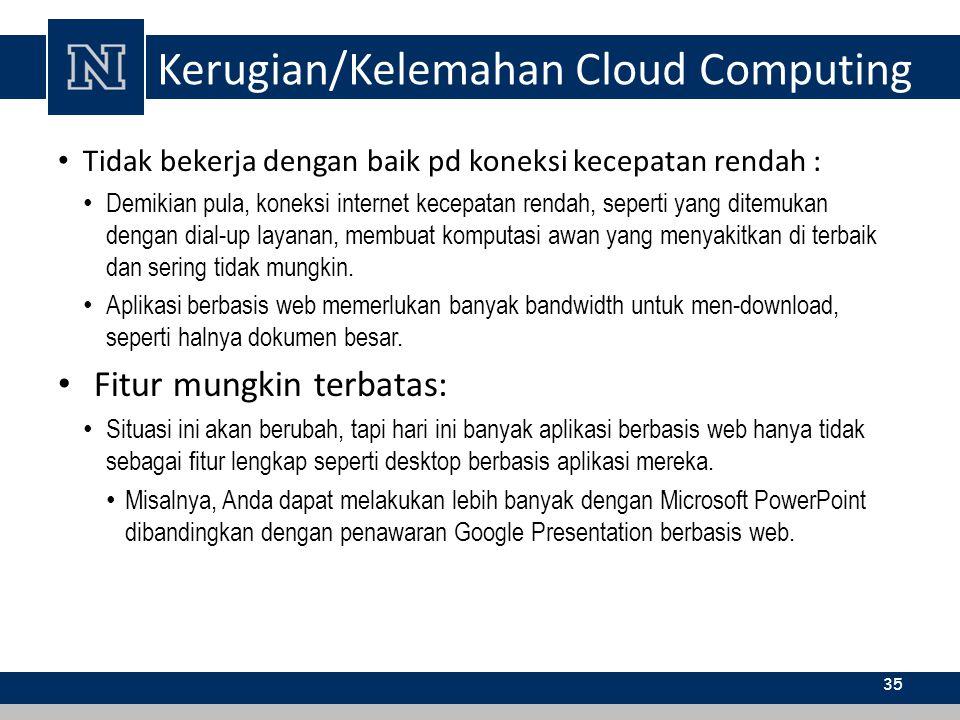 Kerugian/Kelemahan Cloud Computing Tidak bekerja dengan baik pd koneksi kecepatan rendah : Demikian pula, koneksi internet kecepatan rendah, seperti y