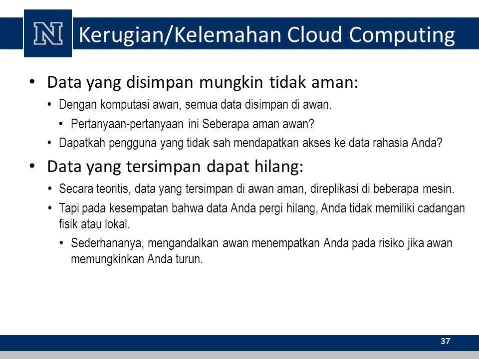 Kerugian/Kelemahan Cloud Computing Data yang disimpan mungkin tidak aman: Dengan komputasi awan, semua data disimpan di awan. Pertanyaan-pertanyaan in