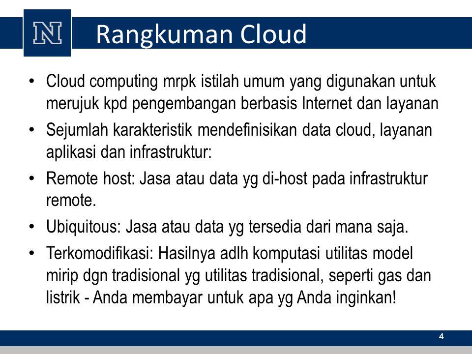Rangkuman Cloud Cloud computing mrpk istilah umum yang digunakan untuk merujuk kpd pengembangan berbasis Internet dan layanan Sejumlah karakteristik m