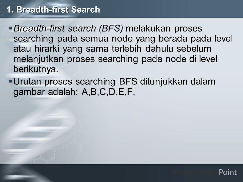1. Breadth-first Search  Breadth-first search (BFS) melakukan proses searching pada semua node yang berada pada level atau hirarki yang sama terlebih