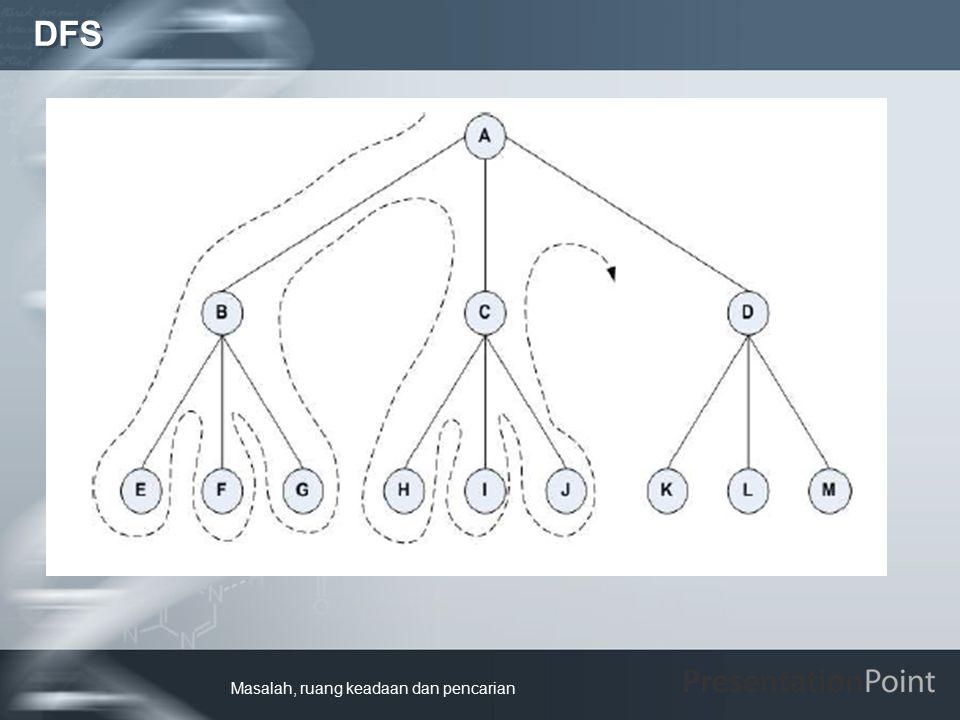 Kelebihan DFS adalah:  Pemakaian memori hanya sedikit, berbeda jauh dengan BFS yang harus menyimpan semua node yang pernah dibangkitkan.
