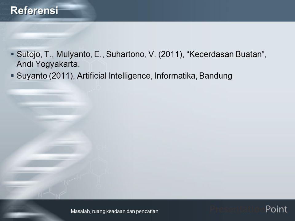 """Referensi  Sutojo, T., Mulyanto, E., Suhartono, V. (2011), """"Kecerdasan Buatan"""", Andi Yogyakarta.  Suyanto (2011), Artificial Intelligence, Informati"""