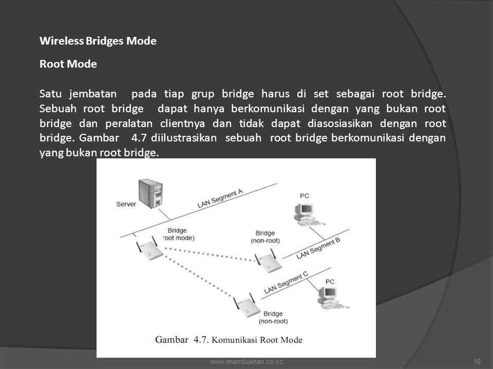 Wireless Bridges Mode Root Mode Satu jembatan pada tiap grup bridge harus di set sebagai root bridge. Sebuah root bridge dapat hanya berkomunikasi den