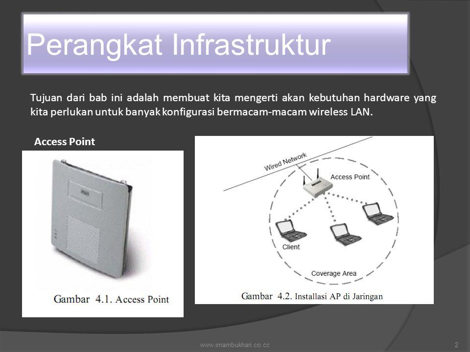 Perangkat Infrastruktur Tujuan dari bab ini adalah membuat kita mengerti akan kebutuhan hardware yang kita perlukan untuk banyak konfigurasi bermacam-macam wireless LAN.