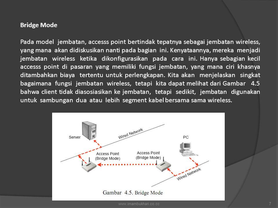 Bridge Mode Pada model jembatan, accesss point bertindak tepatnya sebagai jembatan wireless, yang mana akan didiskusikan nanti pada bagian ini. Kenyat
