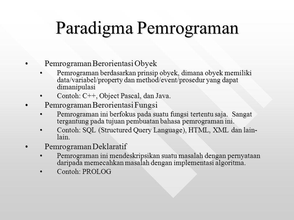 Paradigma Pemrograman Pemrograman Berorientasi ObyekPemrograman Berorientasi Obyek Pemrograman berdasarkan prinsip obyek, dimana obyek memiliki data/variabel/property dan method/event/prosedur yang dapat dimanipulasiPemrograman berdasarkan prinsip obyek, dimana obyek memiliki data/variabel/property dan method/event/prosedur yang dapat dimanipulasi Contoh: C++, Object Pascal, dan Java.Contoh: C++, Object Pascal, dan Java.