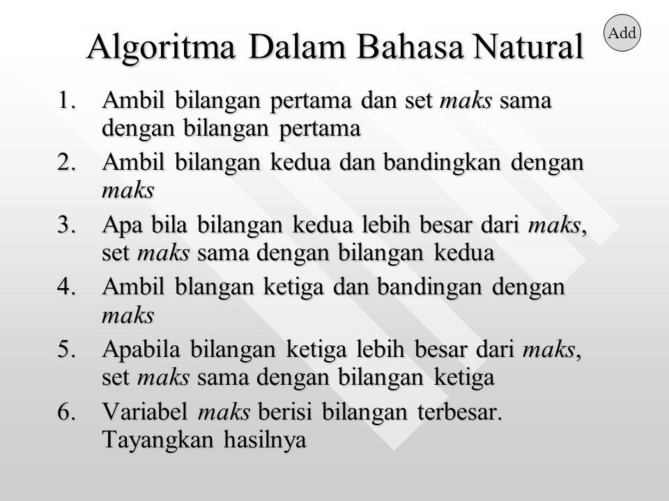 Algoritma Dalam Bahasa Natural 1.Ambil bilangan pertama dan set maks sama dengan bilangan pertama 2.Ambil bilangan kedua dan bandingkan dengan maks 3.Apa bila bilangan kedua lebih besar dari maks, set maks sama dengan bilangan kedua 4.Ambil blangan ketiga dan bandingan dengan maks 5.Apabila bilangan ketiga lebih besar dari maks, set maks sama dengan bilangan ketiga 6.Variabel maks berisi bilangan terbesar.