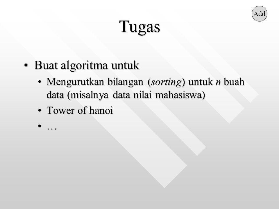 Tugas Buat algoritma untukBuat algoritma untuk Mengurutkan bilangan (sorting) untuk n buah data (misalnya data nilai mahasiswa)Mengurutkan bilangan (s