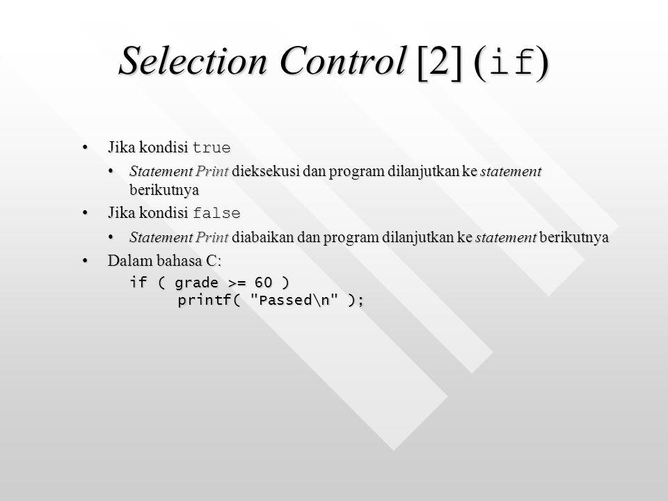 Selection Control [2] ( if ) Jika kondisi trueJika kondisi true Statement Print dieksekusi dan program dilanjutkan ke statement berikutnyaStatement Print dieksekusi dan program dilanjutkan ke statement berikutnya Jika kondisi falseJika kondisi false Statement Print diabaikan dan program dilanjutkan ke statement berikutnyaStatement Print diabaikan dan program dilanjutkan ke statement berikutnya Dalam bahasa C:Dalam bahasa C: if ( grade >= 60 ) printf( Passed\n );